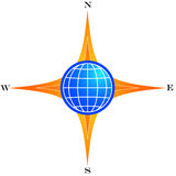 Global compass. Global direction compass Royalty Free Stock Images
