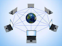 Global Computer Network. (3d rendering Stock Image