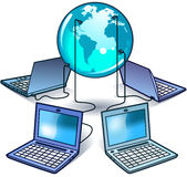 Global Computer Network. This is an illustration of four laptop connected to the global computer network Royalty Free Stock Images