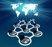 Global computer network. Design of computer network with a global map on blue background stock illustration