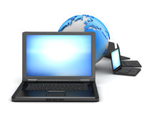 Global computer network. Laptops and earth globe on white background Stock Photos