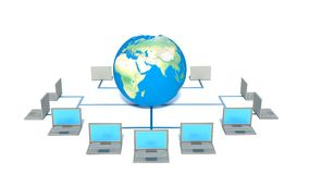 Global computer network. Isolated white Stock Photos