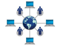 Global Computer Network blue. Illustration Royalty Free Stock Image