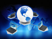 Global computer network. On blue abstract background Royalty Free Stock Photography