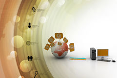 Global computer network. In color background stock illustration