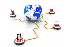 Global computer network. 3d render of global computer network Royalty Free Stock Photo