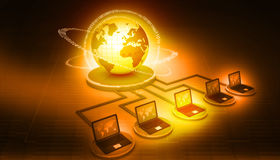 Global computer network. On digital background Stock Photos
