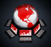 Global computer network. With laptop computers on black background Stock Photo