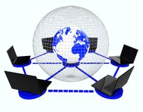 Global Computer Network Means World Monitor And Connectivity Royalty Free Stock Image