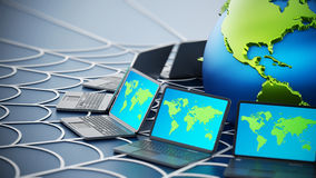 Global computer network with a spider web Royalty Free Stock Image