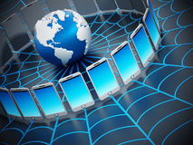 Global computer network with a spider web.  Stock Photos