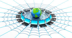Global computer network with a spider web. Isolated on white background Royalty Free Stock Images
