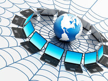 Global computer network with a spider web. Isolated on white background Stock Photos