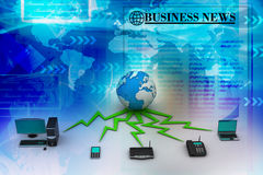 Global computer networking. In blue color background Stock Photography
