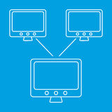 Global computer networks icon. Social network single line symbol on a blue background royalty free illustration