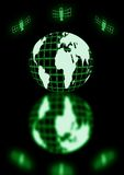 Global coms. Globe with orbiting sattelites Stock Images
