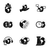 Global comunity icon set, simple style. Global comunity icon set. Simple set of 9 global comunity vector icons for web isolated on white background Stock Photos