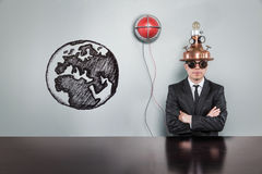 Global concept with alert light and vintage businessman Stock Photo