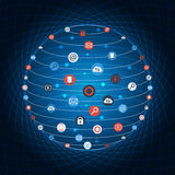 Global concept internet networking circle with flat icons illustration. Social Networking Creative Icon Collection. Stock Photos