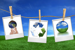 Global Concept Issues Hanging on Film Blanks Royalty Free Stock Images