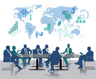 Global conference. Business professional meeting at conference table with map of the world illustrated in background Stock Photos