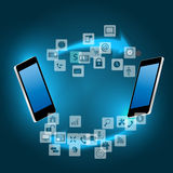 Global connecting concept with mobile phone vector Stock Image