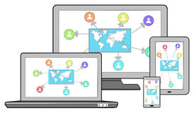 Global connection concept on different devices Royalty Free Stock Images