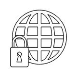 Global connection lock security system technology outline Royalty Free Stock Photo