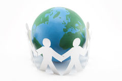 Global Connections. Paper cutout people and globe isolated on white. Earth has been hand painted by me Stock Images