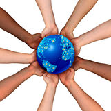 Global Connections. And globalization concept as a connected business network of multiethnic people holding a world map planet for worldwide cooperation and vector illustration
