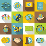 Global connections icons set, flat style Stock Image
