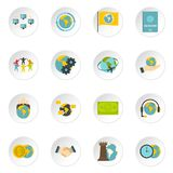 Global connections icons set in flat style Royalty Free Stock Photos
