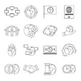 Global connections icons set, outline style Stock Photo