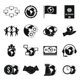 Global connections icons set, simple style Stock Photography