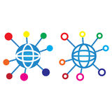 Global Connections line icon, social network outline and solid v Stock Photo