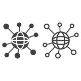 Global Connections line icon, social network outline and solid v. Ector sign, linear and full pictogram isolated on white, logo illustration Royalty Free Stock Image