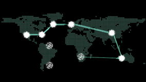 Global connections theme in green and black stock footage