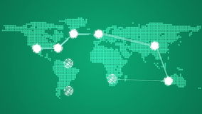 Global connections theme in green stock video