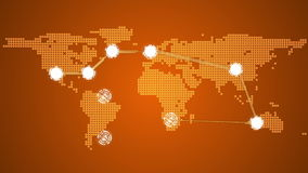 Global connections theme in orange stock video