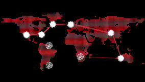 Global connections theme in red and black stock video