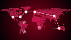 Global connections theme in red stock footage