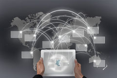 Global connectivity and tablet. Global connectivity and white tablet Royalty Free Stock Images