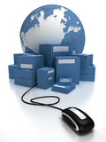 Global consignment in blue. Blue world with a heap of packages connected to a mouse Stock Photo