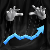 Global conspiracy in the business. Conceptual illustration. Arrow move Stock Photography