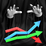 Global conspiracy in the business. Magician manages a rising and falling markets.Conceptual illustration Stock Images