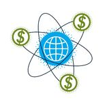 Global Cooperation and Business conceptual logo, unique vector s. Ymbol created with different elements. Global Financial System. World Economy Royalty Free Stock Photos