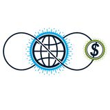 Global Cooperation and Business conceptual logo, unique vector s. Ymbol created with different elements. Global Financial System. World Economy Royalty Free Stock Photography