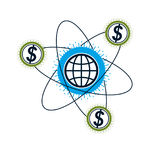 Global Cooperation and Business conceptual logo, unique vector s. Ymbol created with different elements. Global Financial System. World Economy Royalty Free Stock Image