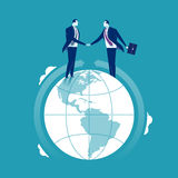 Global Cooperation. Businessmen shaking hands at the globe. Concept business illustration Royalty Free Stock Photo