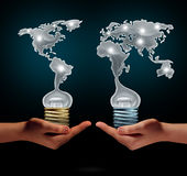 Global Creativity. Business success concept as people holding light bulbs shaped as world continents as a financial trade symbol for creative collaboration and vector illustration